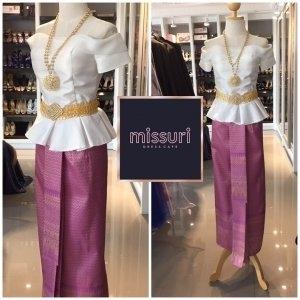 ชุดไทยประยุกต์ ชุดไทยร่วมสมัย เสื้อทรงไทยประยุกต์ เน้นเสื้อลำลอง ผ้าไหมอิตาลี คู่ผ้าถุงลายไทย ยกดอก