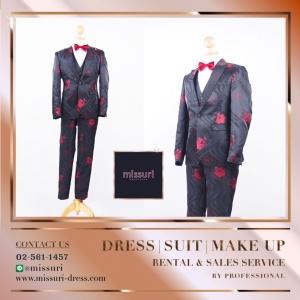 ชุดสูท สีดำ สไตล์ วินเทจ เสื้อสูท สูท ผู้ชาย ( Suits ) ชุดไปงานแต่ง ชาย ลายดอก สุดชิค