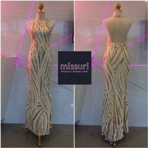 ชุดราตรีออกงาน ชุดราตรียาวไปงานแต่งงาน ชุดmaxi dress ผ้าเลื่อมเว้าแขนปิดคอทรงเข้ารูปสวยหรู