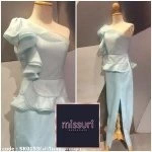 ชุดออกงาน ชุดไปงานแต่งงาน ชุดmaxi dress มีผ้าออแกนดี้ ระบายที่บ่าและเอว ทรงตรงผ่าข้าง เซ็กซี่