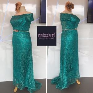 ชุดราตรีสีเขียว ชุดออกงานไซส์ใหญ่ ชุด maxi dress ผ้ากลิตเตอร์ ปาดไหล่ มีแขน ทรงเข้ารูปหางปลา ดูสวยสง่ามากค่ะ สำเนา สำเนา