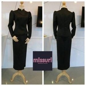 ชุดไทยพระราชนิยม ชุดไทยบรมพิมาน ผ้าไหมดัชเชตสีดำ