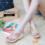 รองเท้าแฟชั่น แบบหนีบ ส้นเตารีด แต่งเพชรสวยหรูตัดหนังเงารอบรองเท้าดูดี ใส่สบายแมทสวยได้ทุกชุด (PU6047)
