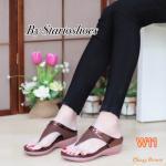 รองเท้าแฟชั่น ส้นเตารีด แบบหนีบ ตัดขอบหนังเงาสวยเก๋ หนังนิ่ม ทรงสวย ใส่สบาย แมทได้ทุกชุด (Pf2243)