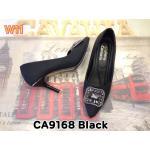 รองเท้าคัทชู ส้นสูง แต่งอะไหล่เพชรด้านหน้าสวยหรู ส้นแต่งขอบทอง หนังนิ่ม ทรงสวย ส้นสูงประมาณ 4 นิ้ว แมทสวยได้ทุกชุด (CA9168)