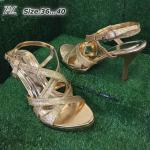 รองเท้าแฟชั่น ส้นสูง รัดส้น หนังกลิสเตอร์วิ้งเป็นประกาย ดีไซน์ไขว์สวยหรู ทรงสวยเก็บหน้าเท้า ส้นสูงประมาณ 3.5 นิ้ว ใส่สบาย แมทสวยได้ทุกชุด