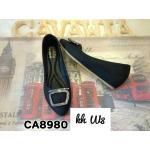 รองเท้าคัทชู ส้นเตารีด แต่งอะไหล่เพชรด้านหน้าสวยหรู เสริมส้นด้านในประมาณ 2 นิ้ว ทรงสวย พื้นนิ่ม ใส่สบาย แมทสวยได้ทุกชุด (CA8980)