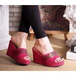 รองเท้าแฟชั่น ส้นเตารีด แบบสวม แต่งแถบสีอะไหล่ด้านหน้าสไตล์กุชชี่สวยเก๋ ใส่สบาย แมทสวยได้ทุกชุด (FT-398)