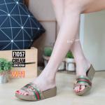 รองเท้าแตะแฟชั่น แบบสวม แต่งคาดหน้าแถบสีสไตล์กุชชี่สวยเก๋ พื้นซอฟคอมฟอตนิ่มสไตล์ฟิตฟลอบ ใส่สบายมาก แมทสวยได้ทุกชุด (F1057)