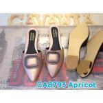 รองเท้าคัทชู เปิดส้น แต่งอะไหล่หรูด้านหน้า ทรงสวย หนังนิ่มใส่สบาย แมทสวยได้ทุกชุด (CA8793)