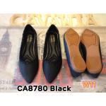 รองเท้าคัทชู ส้นแบน แต่งขอบร้อยหนังน่ารัก ทรงหัวแหลมดูเท้าเรียว หนังนิ่มอย่างดี พื้นนิ่ม ใส่สบาย แมทสวยได้ทุกชุด (CA8780)