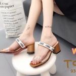 รองเท้าแฟชั่น ส้นสูง แบบสวม คาดหน้าใส แต่งแถบริบบิ้นสไตลดิออร์สวยเก๋ ทรงสวย ส้นสูงประมาณ 2.5 นิ้ว แมทสวยได้ทุกชุด (936-16)