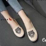 รองเท้าผ้าใบแฟชั่น ทรง slip on แต่งลายปักเสือสไตล์เคนโซ่ ขอบพื้นแต่งเชือกถัก ใส่สบาย แมทสวยได้ทุกชุด (17-5173)