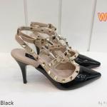 รองเท้าคัทชู ส้นสูง รัดข้อ หนังเงาแต่งหมุดสไตล์วาเลนติโน ทรงหัวแหลมดูเท้าเรียว ส้นสูงประมาณ 3 นิ้ว ใส่สบาย แมทสวยได้ทุกชุด (K9015)