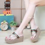 รองเท้าแฟชั่น ส้นมัฟฟิน แบบหนีบ แต่งลายสไตล์กุชชี่สวยเก๋ น้ำหนักเบา ใส่สบาย แมทสวยได้ทุกชุด (JK8026)
