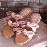 รองเท้าแตะแฟชั่น แบบสวม ผูกโบว์หน้าสวยเก๋น่ารัก พื้นนิ่ม ใส่สบาย แมทสวยได้ทุกชุด