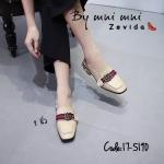 รองเท้าคัทชู เปิดส้น แต่งอะไหล่สไตล์กุชชี่สวยหรู ส้นแต่งมุกและหมุดทอง ทรงสวยเพรียว ส้นสูง 2 นิ้ว แมทสวยได้ทุกชุด (17-5190)