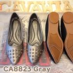 รองเท้าคัทชู ส้นเตี้ย สวยเก๋ แต่งหมุดด้านหน้า ทรงหัวแหลมดูเท้าเรียว หนังนิ่มอย่างดี ใส่ สบาย แมทสวยได้ทุกชุด (CA8823)