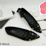 รองเท้าคัทชู ส้นแบน แต่งอะไหล่ดอกไม้เพชรและหมุดเพชรสวยหรู ทรงสวย พื้นนิ่ม ใส่สบาย แมทสวยได้ทุกชุด (K5043)