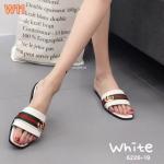 รองเท้าแตะแฟชั่น ส้นสูง แบบสวม แต่งแถบสีอะไหล่สไตล์กุชชี่ สวยดูดี ทรงสวย ใส่สบาย แมทสวยได้ทุกชุด (6226-19)