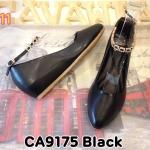 รองเท้าคัทชู ส้นตารีด รัดข้อ สายรัดแต่งอะไหล่ทองสวยหรู หนังนิ่มใส่สบาย ส้นสูงประมาณ 2 นิ้ว ทรงสวย แมทสวยได้ทุกชุด (CA9175)