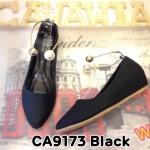 รองเท้าคัทชู ส้นเตารีด รัดข้อ สายรัดห่วงทองแต่งมุกสไตล์แบรนด์สวยหรู หนังนิ่มใส่สบาย ส้นสูงประมาณ 2 นิ้ว ทรงสวย แมทสวยได้ทุกชุด (CA9173)