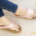 รองเท้าแตะแฟชั่น สวยเรียบเก๋ แบบหนีบ แต่งอะไหล่จรเข้ พื้นซอฟคอมฟอตนิ่มสไตล์ฟิตฟลอบ ใส่สบายมาก แมทสวยได้ทุกชุด (T108)