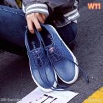 รองเท้าผ้าใบแฟชั่น ทรง slip on ผ้ายีนส์แต่งเชือกผูก วัสดุอย่างดี ทรงสวย ใส่สบาย ใส่เที่ยว ออกกำลังกาย แมทสวยเท่ห์ได้ทุกชุด (351)