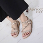 รองเท้าแตะแฟชั่น แบบสวม รัดส้น คาดหน้าเฉียงแต่งอะไหล่เก๋ พื้นนิ่ม ยางยืดนิ่ม ใส่สบาย แมทสวยได้ทุกชุด (B62-6)
