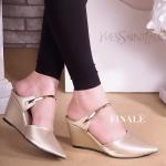 รองเท้าคัทชู เปิดส้น ส้นเตารีด แต่งคาดทองสวยหรู หนังนิ่ม ใส่สบาย ทรงสวย แมทสวยได้ทุกชุด