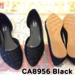 รองเท้าคัทชู ส้นแบน ทรงหัวแหลมดูเท้าเรียว แต่งคลิสตัลรอบตัวสวยหรู ทรงสวย ใส่สบาย แมทสวยได้ทุกชุด (CA8956)