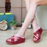 รองเท้าแตะแฟชั่น แบบสวม แต่งคาดหน้าแถบสีสไตล์กุชชี่สวยเก๋ พื้นซอฟคอมฟอตนิ่มสไตล์ฟิตฟลอบ ใส่สบายมาก แมทสวยได้ทุกชุด (F1055)