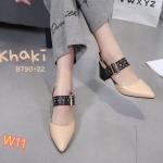 รองเท้าคัทชู ส้นเตี้ย รัดส้น หนังตัดสีแต่งคาดเข็มขัดประดับหมุดทองสวยเก๋ หนังนิ่ม ทรงสวย ใส่สบาย สูงสตัดสูงประมาณ 2.5 นิ้ว แมทสวยได้ทุกชุด (B790-22)