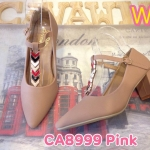 รองเท้าคัทชู ส้นเตี้ย แต่งอะไหล่ทองสวยเก๋ด้านหน้า หนังนิ่มอย่างดี พื้นนิ่ม ส้นสูงประมาณ 2.5 นิ้ว ใส่สบาย แมทสวยได้ทุกชุด (CA8999)