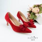 รองเท้าคัทชู ส้นเตี้ย หนังสักหราดแต่งโบว์สวยเรียบหรู ทรงสวยดูเท้าเรียว ส้นสูงประมาณ 1.5 นิ้ว ใส่สบาย แมทสวยได้ทุกชุด (G6-34)