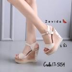 รองเท้าแฟชั่น ส้นเตารีด รัดส้น แบบสวม เรียบเก๋ แบบอินเทรนด์ใส่ได้ตลอด ส้นสูงประมาณ 5 นิ้ว เสริมหน้า 2 นิ้ว แมทสวยได้ทุกชุด (17-5154)