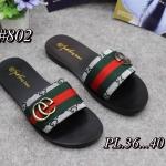 รองเท้าแตะแฟชั่น แบบสวม คาดหน้าผ้าแถบสีแต่ง GG สไตล์กุชชี่สวยเก๋ พื้นยางอย่างดีนิ่ม ใส่สบาย แมทสวยได้ทุกชุด (802)