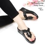 รองเท้าแตะแฟชั่น สวยเก๋ แบบหนีบ แต่งดอกไม้สวยน่ารัก พื้นซอฟคอมฟอตนิ่มสไตล์ฟิตฟลอบ ใส่สบายมาก แมทสวยได้ทุกชุด (L2027)