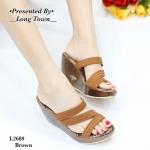 รองเท้าแฟชั่น แบบสวม ส้นเตารีด คาดหน้าเฉียง สวยเก๋ เก็บหน้าเท้า ใส่สบาย แมทสวยได้ทุกชุด (L2689)