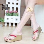 รองเท้าแฟชั่น ส้นเตารีด แบบหนีบ คาดหน้าแต่งแถบสีสไตล์กุชชี่สวยเก๋ ใส่สบาย แมทเก๋ได้ทุก (PU6028)
