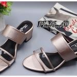 รองเท้าแฟชั่น แบบสวม แต่งคาดหน้าใสสวยเก๋ ส้นตัดสูงประมาณ 2.5 นิ้ว ใส่สบาย แมทสวยได้ทุกชุด