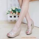 รองเท้าคัทชู ส้นเตารีด เปิดนิ้ว แต่งลายหนังสานไขว้สวยเก๋ หนังนิ่ม ใส่สบาย ทรงสวย แมทสวยได้ทุกชุด (L2868)