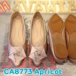 รองเท้าคัทชู ส้นแบน แต่งดอกกุหลาบด้านหน้า ทรงหัวแหลมดูเท้าเรียว หนังนิ่มอย่างดี พื้นนิ่ม ใส่สบาย แมทสวยได้ทุกชุด (CA8773)