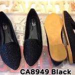 รองเท้าคัทชู ส้นแบน สวยหรู แต่งคลิสตัลรอบรองเท้า ทรงสวย ใส่สบาย แมทสวยได้ทุกชุด (CA8949)