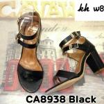 รองเท้าแฟชั่น ส้นสูง รัดข้อ แบบสวม สายรัดข้อ 2 ชั้น แต่งคาดเข็มขัดสวยเก๋ หนังนิ่ม ทรงสวย ส้นสูงประมาณ 4 นิ้ว แมทสวยได้ทุกชุด (CA8938)