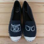 รองเท้าผ้าใบ ส้นเตี้ย ทรง slip on ปักลายแพนด้าน่ารัก ส้นแต่งเชือกถัก ใส่สบาย ทรงสวย แมทสวยได้ทุกชุด (600613)