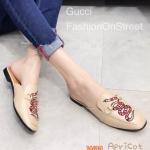 รองเท้าคัทชู เปิดส้น แต่งอะไหล่ ลายงูสวยเก๋สไตล์กุชชี่ ทรงสวย ใส่สบาย แมทสวยได้ทุกชุด (2015-84)