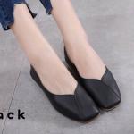 รองเท้าคัทชู ส้นแบน หนังนิ่ม หัวตัด แต่งตะเข็บเก๋ๆ ทรงสวย ใส่สบาย แมทสวยได้ทุกชุด (892-8)