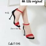 รองเท้าแฟชั่น ส้นสูง รัดข้อ หนังสักหราดแต่งตุ้มเพชรสายรัดข้อสวยหรู ทรงสวยเพรียว ส้นสูง 4.5 นิ้ว ดีไซน์ส้นเก๋ไม่เหมือนใคร แมทสวยได้ทุกชุด (17-5142)