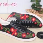 รองเท้าผ้าใบแฟชั่น ปักดอกไม้สไตล์กุชชี่ สุดฮิต วัสดุอย่างดี ใส่สบาย แมทสวยได้ทุกชุด